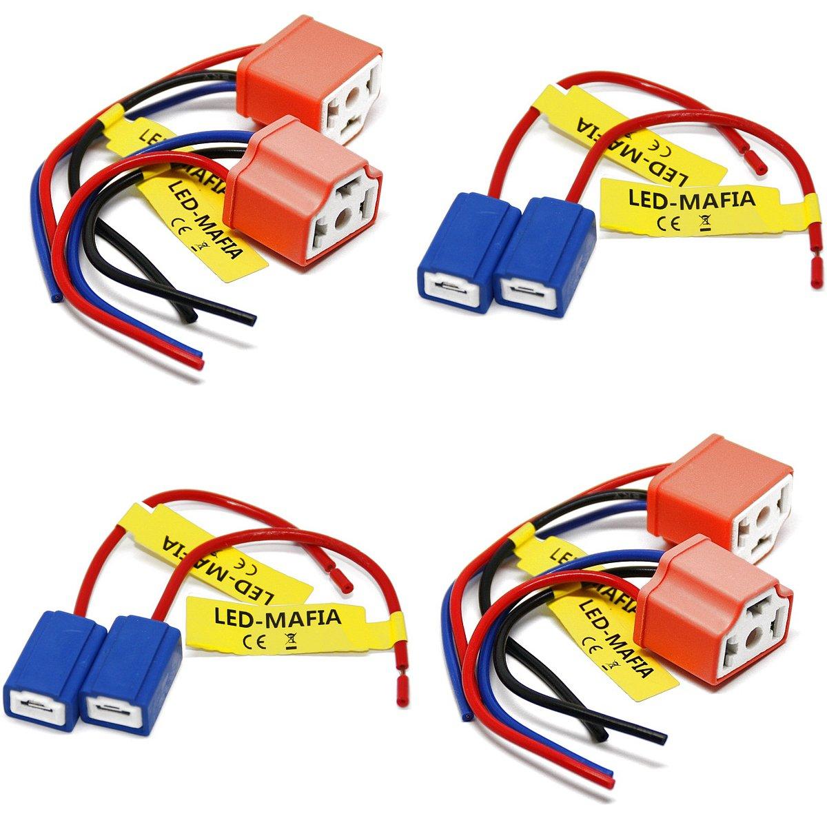 LED-Mafia 2X H1 H3 H4 LAMPENFASSUNG Halogen Lampen Fassung Keramik Stecker Kabel Sockel 2X H1