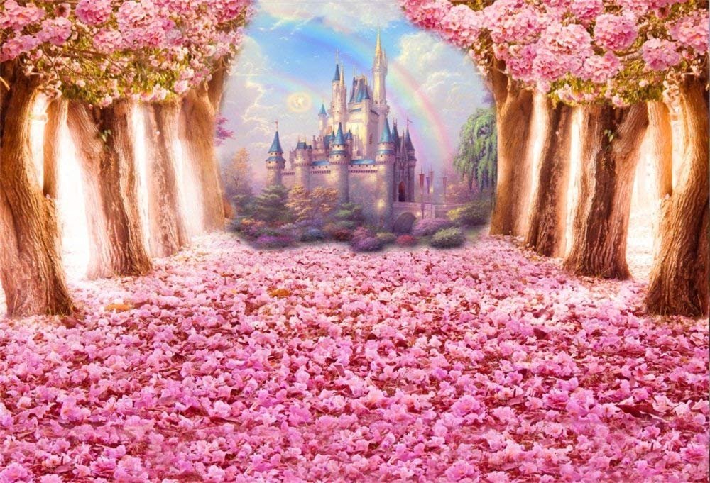 OFILA Fantasy Flowers Blossoms Backdrop 8x6.5ft Dreamy Princess Castle Rainbow Enchanted Garden Theme Baby Shower Party Fairy Tale Wedding Portraits Newborn Baby Photos Kids Shoots Video Props
