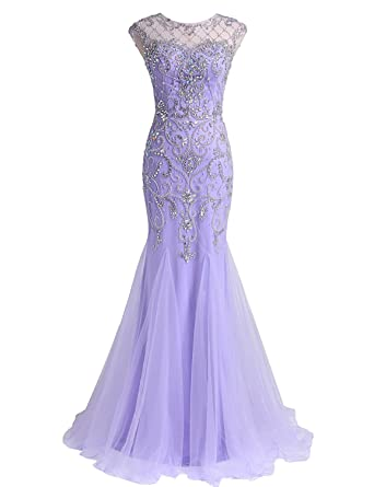 Lava-ring Womens Prom Dresses Lilac Mermaid Tulle Dress Beaded Bodice Party Dress - Purple