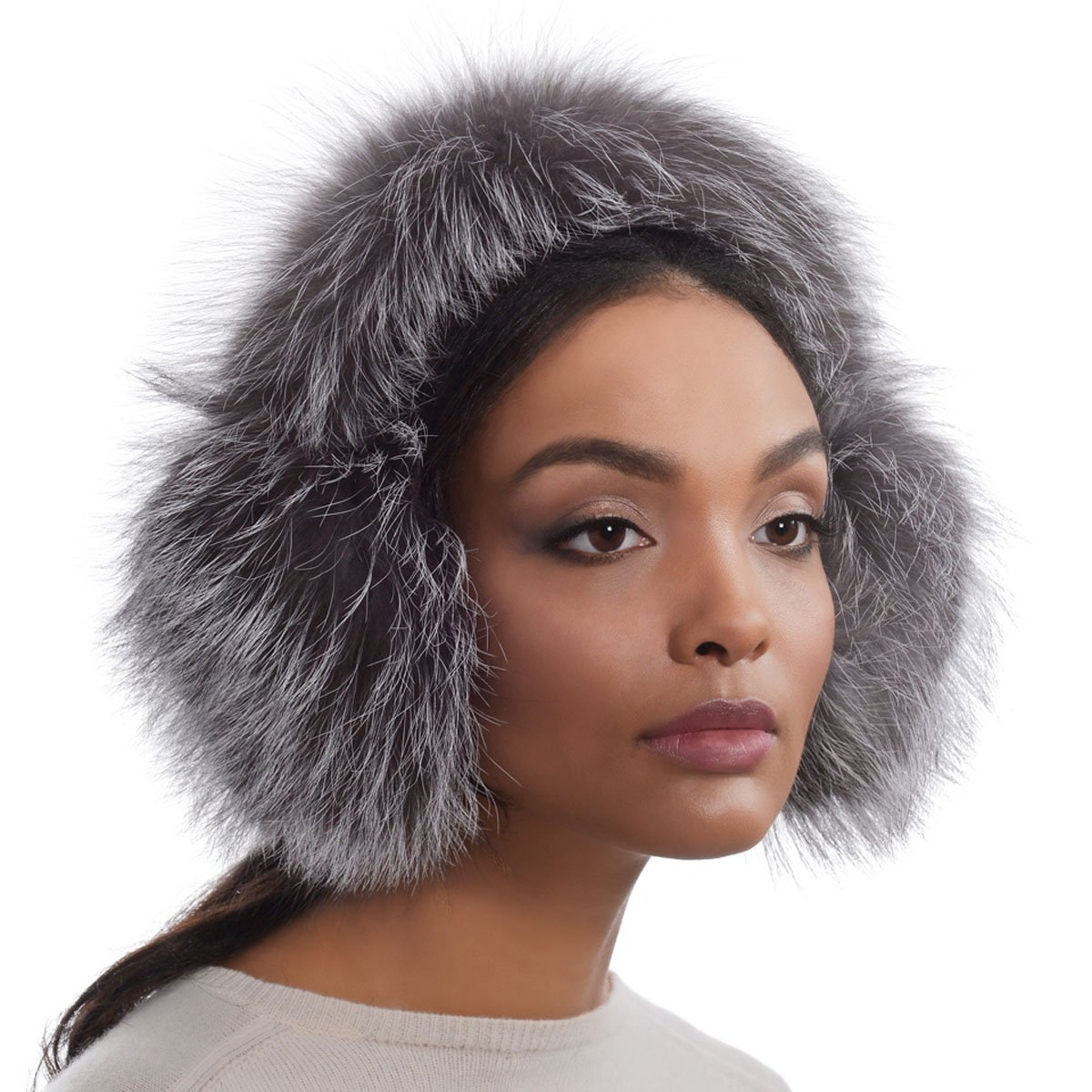 Eric Javits Luxury Fashion Designer Women's Headwear Hat - Fur EarMuffs - Silver FOX by Eric Javits