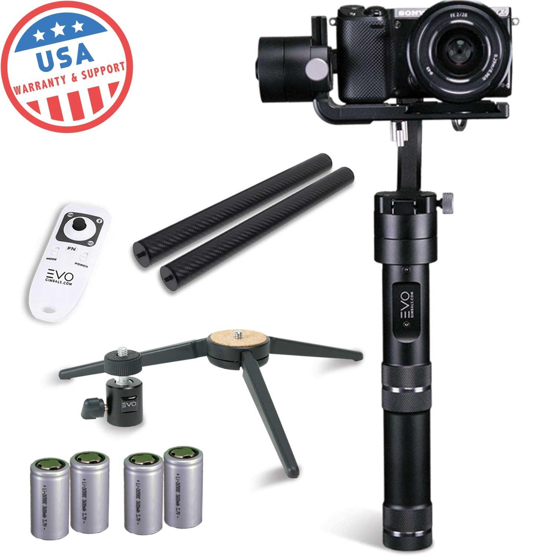 EVO rage-s 3軸ハンドヘルドジンバルforスマートフォン、アクションカメラ&ミラーレスカメラ| 1年保証| USバンドルIncludes : Evo rage-s +ワイヤレスリモート+三脚スタンド+極CF +予備電池   B076BXG2RJ