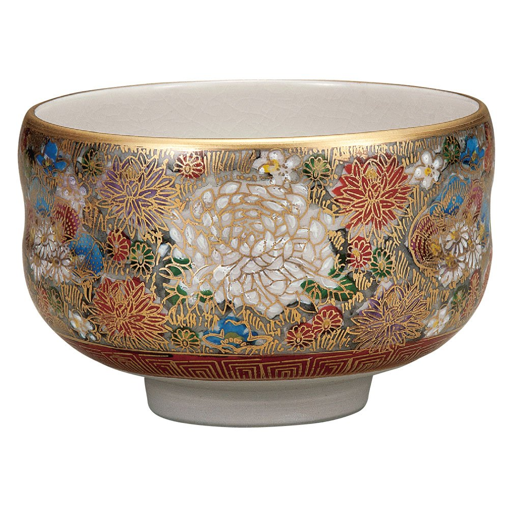 Japanese Matcha Bowl Gold Flower Kutani Yaki(ware) by Kutani