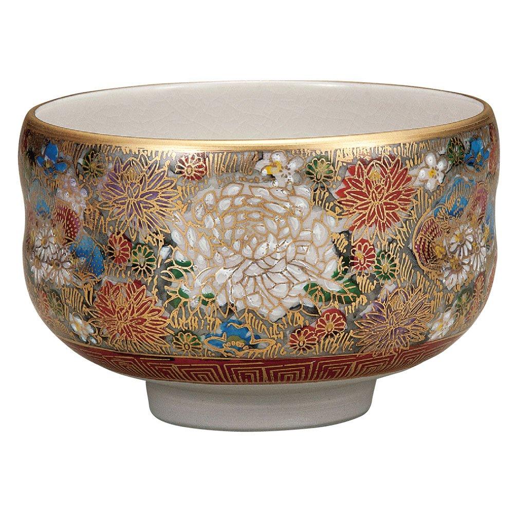 Japanese Matcha Bowl Gold Flower Kutani Yaki(ware) by Kutani
