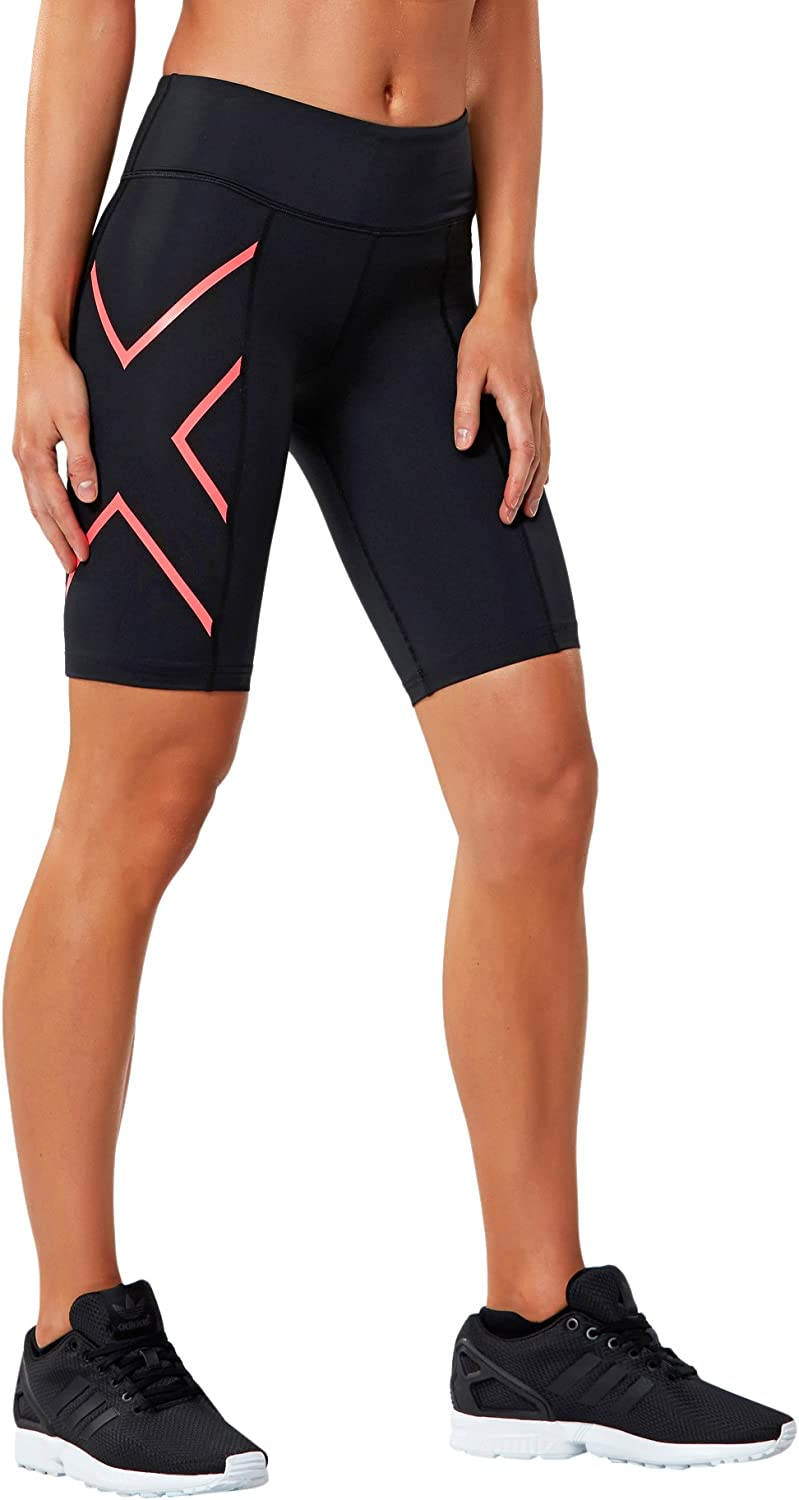 2XU Womens Mid-Rise Athletic Compression Shorts, Black/Cerise Pink, X-Small
