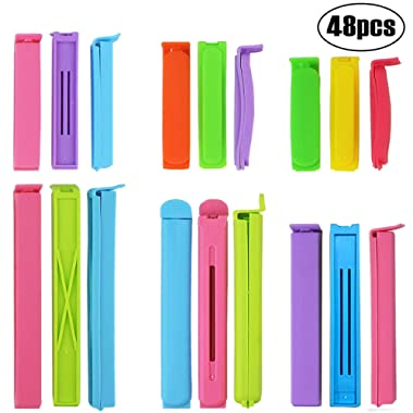 BAKHUK 48pcs Sealing Clips for Food - Bag Clips in 6 Sizes, 2.8/3.6/4.4/5.6/6.4/7.2inch