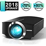 "Video Projector, GooDee Mini Projector 2018 (Upgraded Version) +80% lumens LED Portable Projector with HDMI, Movie Projector with 130"" Compatible with Fire TV Stick, VGA, USB for Home Theater Movie"