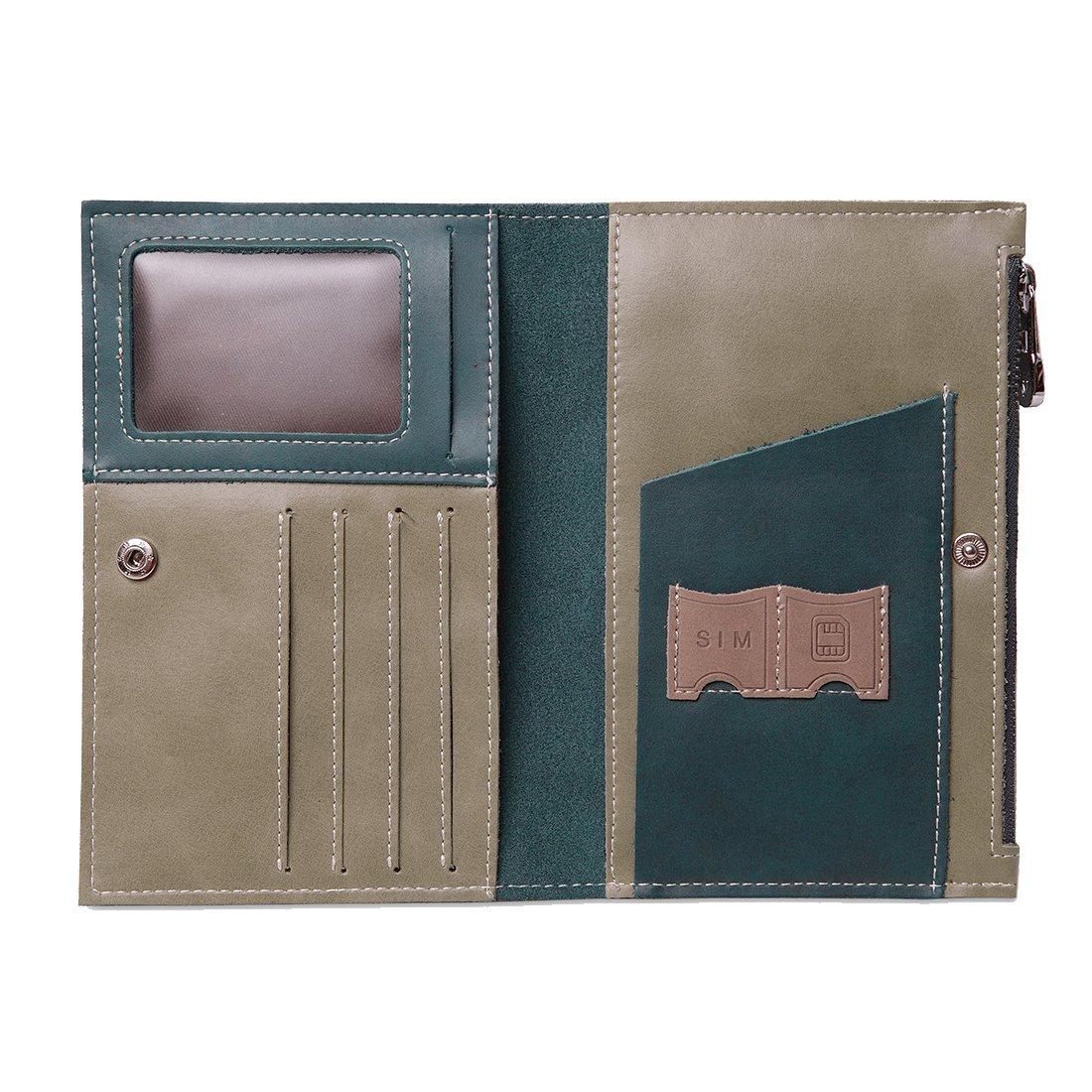 HGDGears Leder Reisepasshülle,Ultra Schlank Reisebrieftasche Reisepassetui Passport mit RFID Blocker (Blau)