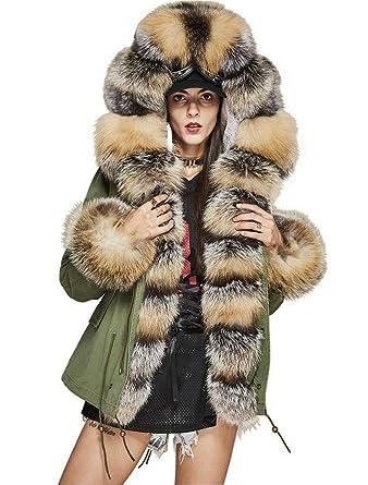 8e8d92c5b40 Murfhee Women s Luxurious Winter Coat Real Fox Fur Hooded Parka Short Jacket  (Small