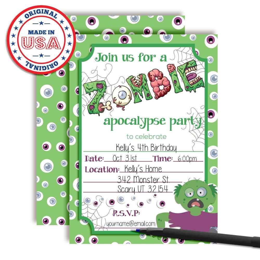 Amazon.com: Zombie Apocalypse Halloween Birthday Party Invitations ...