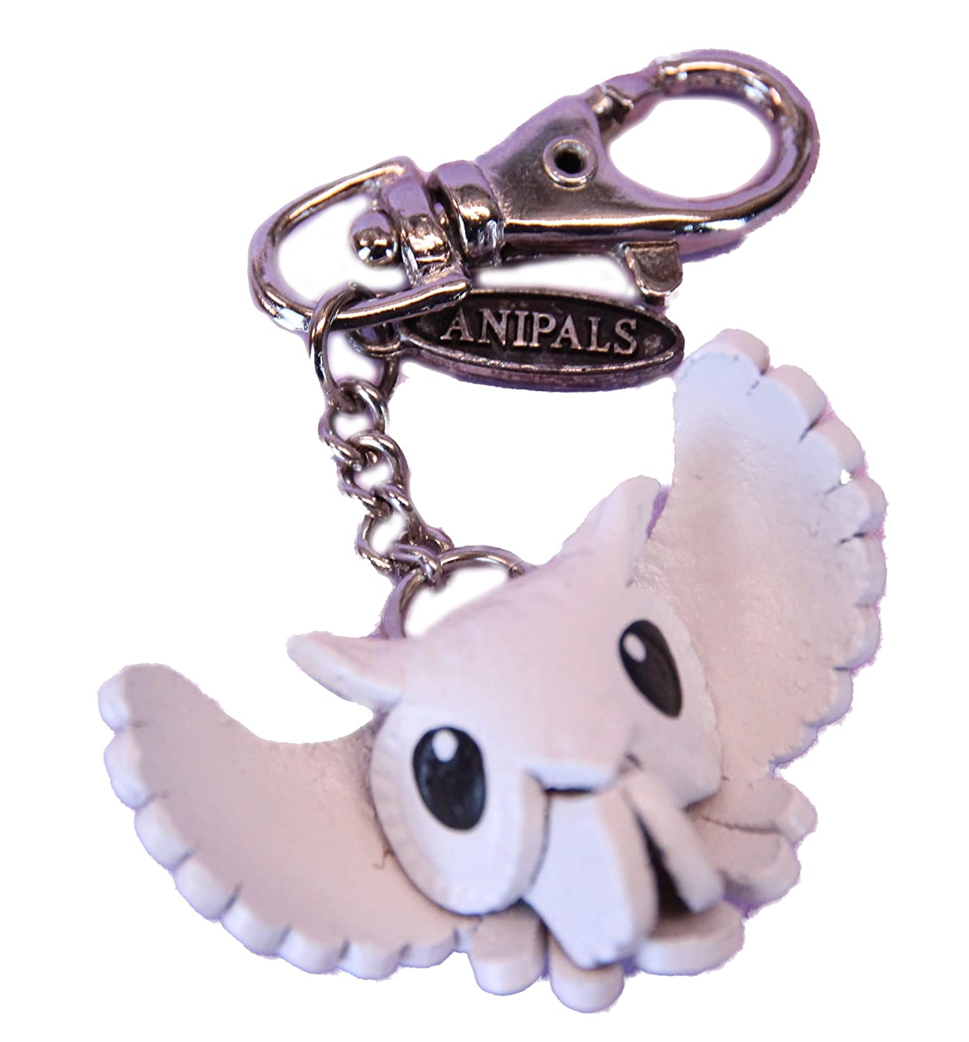 Purse Charm Leather White Owl Chain Fob Animal Gifts Clasp