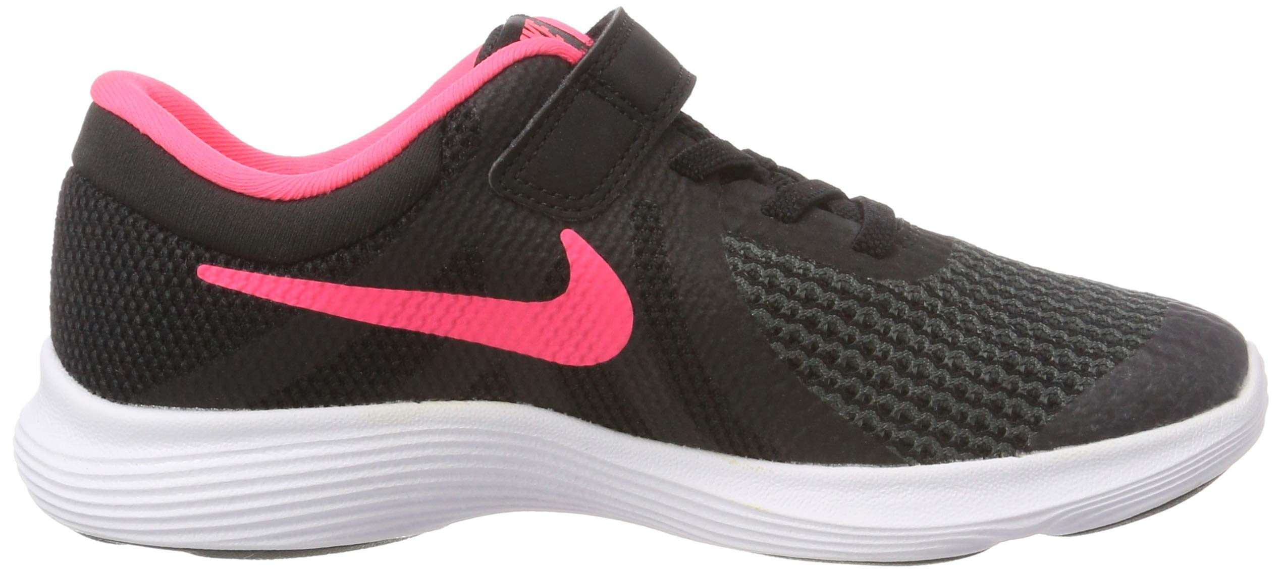 Nike Girls' Revolution 4 (PSV) Running Shoe, Black/Racer Pink - White, 12C Regular US Little Kid by Nike (Image #6)