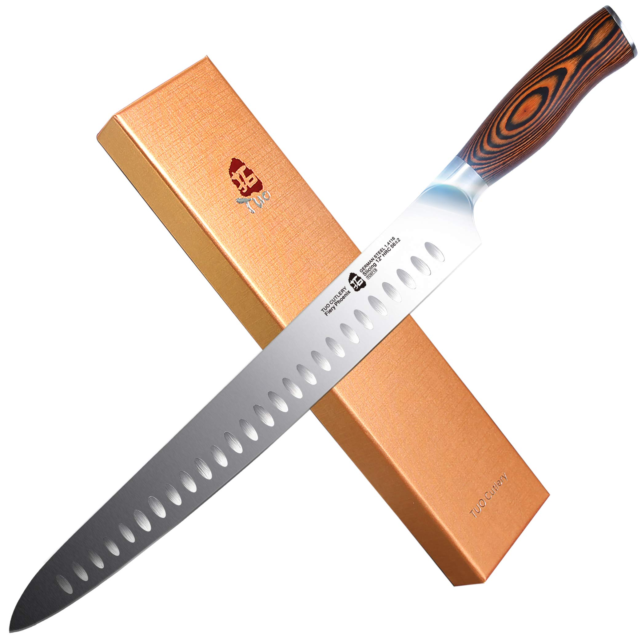 TUO Cutlery Slicing Carving Knife - HC German Stainless steel - Meat Knife with Ergonomic Pakkawood Handle - 12'' - Fiery Series by TUO