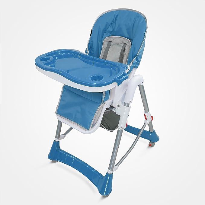 Domaier Chaise Pliante pour Bébé, Chaise Haute pour Bébé, Bleu, Taille déployée: 105 x 75 x 60 cm, Poids: 8,90 kg