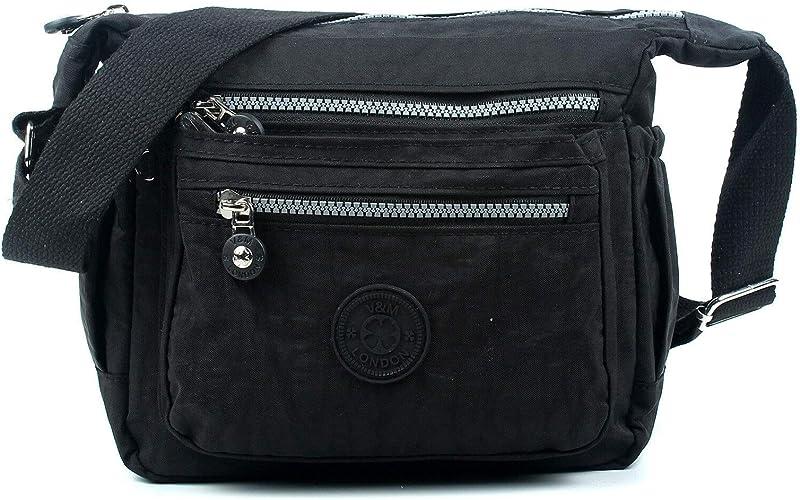 AOSSTA Womens Small Multi Zip Pockets Fabric Lightweight Cross Body Bag Shoulder Bag Messenger Bag