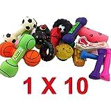 Puddle Pet Care Lot de 10 jouets couineurs en vinyle pour chien Taille moyenne