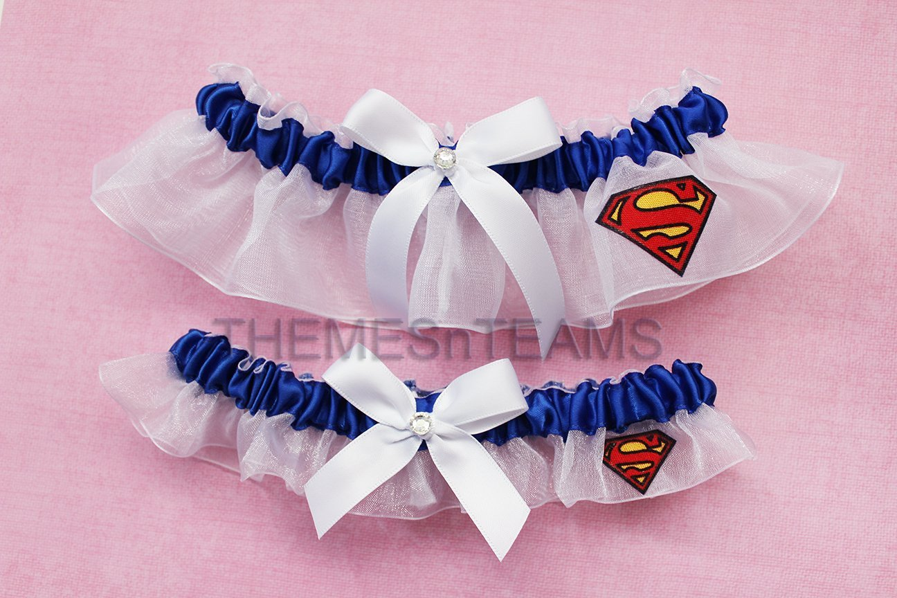 Customizable handmade - royal blue & white - Superman fabric made into wedding prom bridal garter set tnt by BOYX Designs