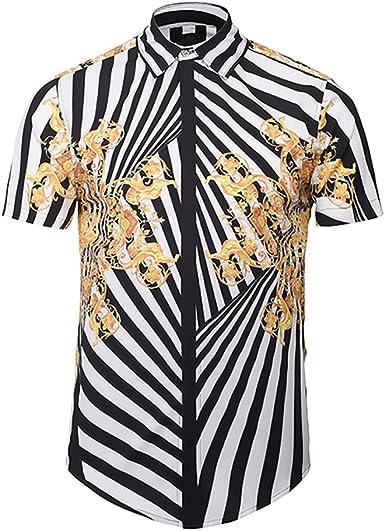 BOLAWOO Camisas De Hombre Elegantes Hipster Moda Casual Irregular Rayas Impresión Verano Manga Corta Cuello Solapa Un Solo Pecho Blusas Camisa: Amazon.es: Ropa y accesorios