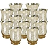 "Just Artifacts Mercury Glass Hurricane Votive Candle Holder 3.5""H (12pcs, Speckled Gold) - Mercury Glass Votive Tealight Candle Holders for Weddings, Parties and Home Décor"