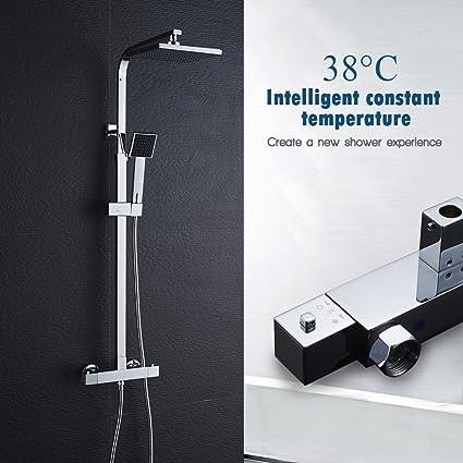 Auralum Diseño Elegante Sistema de Ducha Con Termostato Para Bañera y Ducha Mezclador con Manguera de