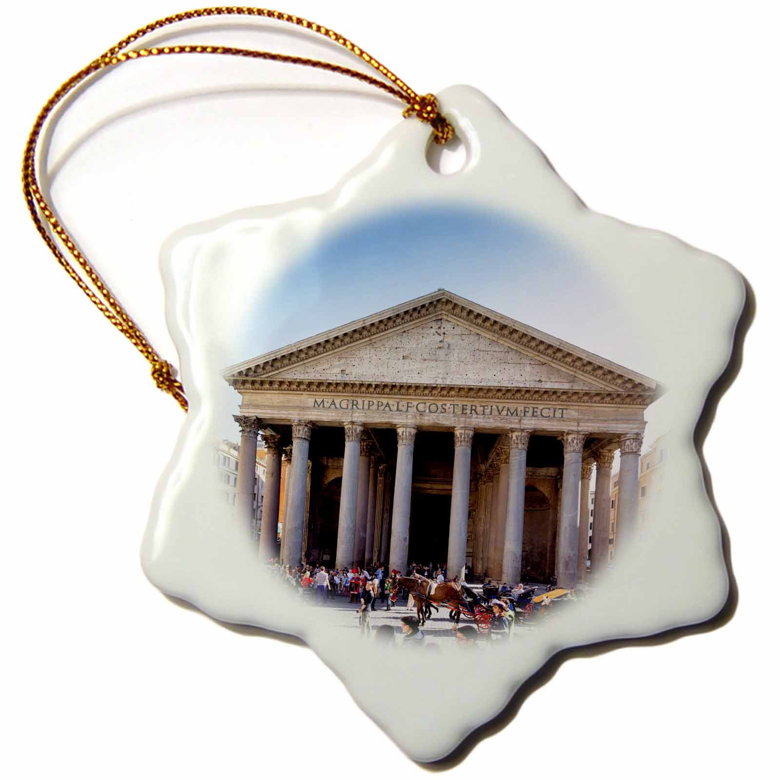 3D Rose the Pantheon Worlds Largest Unreinforced Concrete Dome in Rome-Italy Snowflake Ornament, 3''