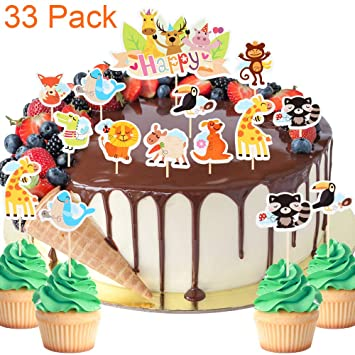 33 Pack Zoo Of Cute Animal Themed Cupcake Toppers For Celebrate Baby Shower Kids Birthday Cake