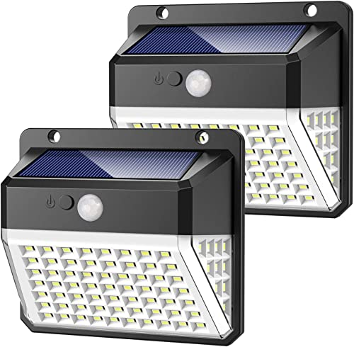 Solar Lights Outdoor, Upgraded 82 LED Security Lights 3 Modes Wireless Motion Sensor Light with 270 Wide Angle Solar Powered Lights Waterproof Wall Lights for Garden, Front Door, Pathway,Yard 2 Pack