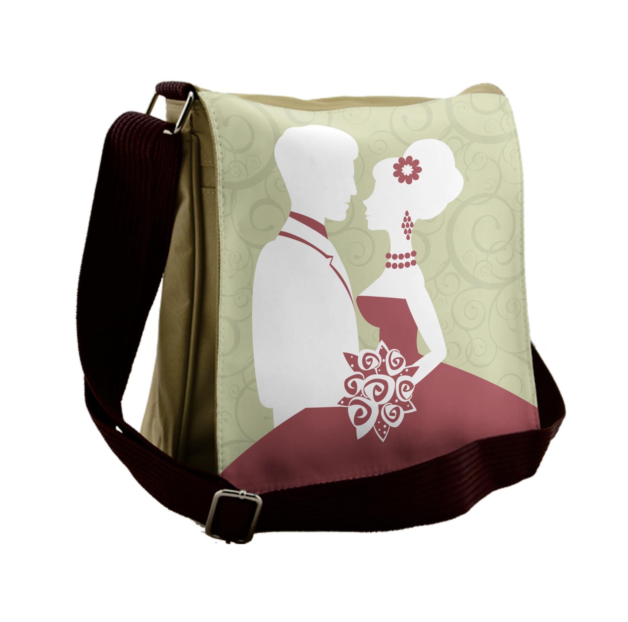 Lunarable Wedding Messenger Bag, Pastel Swirls Silhouettes, Unisex Cross-body