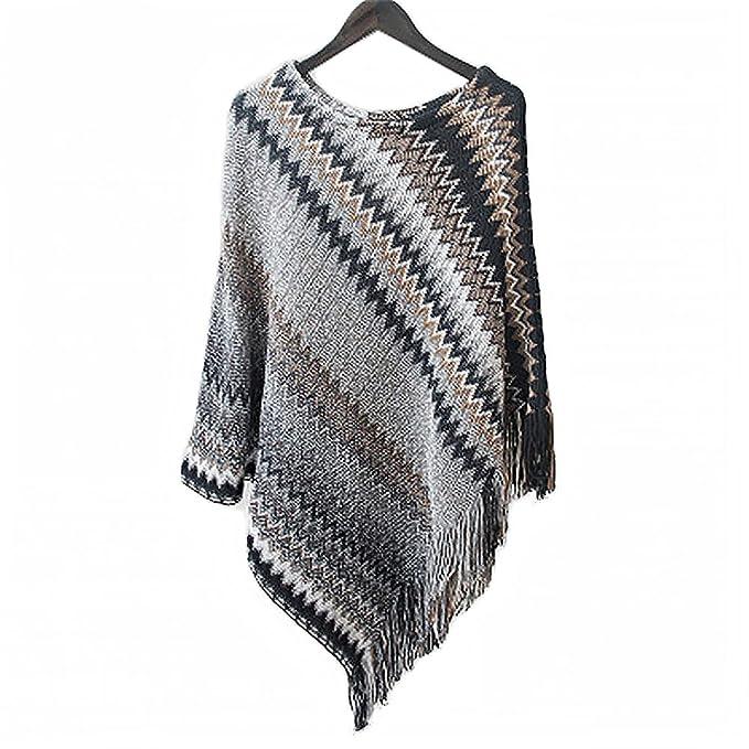 Momo&Lee Women Stripe Patterns Knitted Poncho Top Batwing Blouse ...