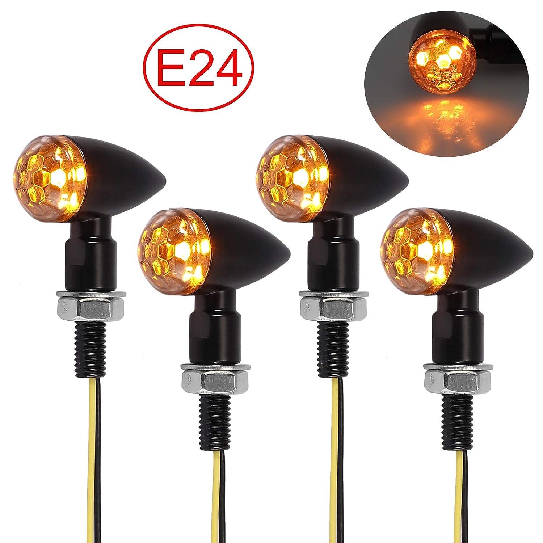 12 V intermitentes de direcci/ón luz de freno delantera y trasera de 4 LED para moto Proster luz difusa impermeables 4 mini intermitentes para moto homologados E24 universal