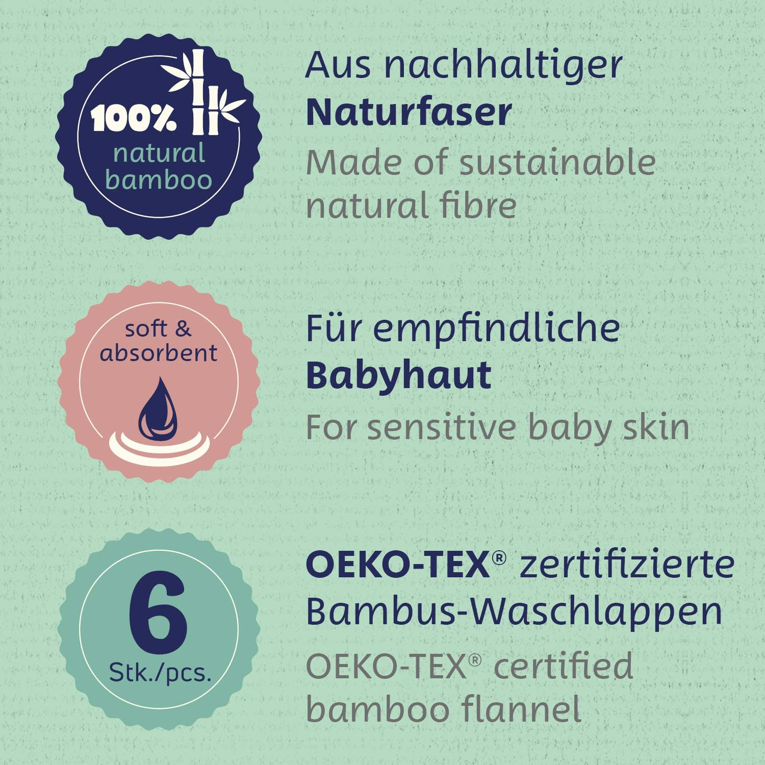 25 x 26 cm Organic Towel for Sensitive Baby Skin Oeko TEX/®-Standard 6-Pack Bamboo Baby wash Cloth Ultra-Soft Made of Sustainable Bamboo