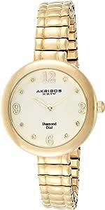 ساعة ذهبية مزينة بالالماس للنساء من اكريبوس اكس اكس اي في- مينا ابيض مصنوع من عرق اللؤلؤ- سوار ستانلس ستيل قابل للتمدد- موديل AK765