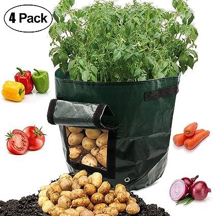 4 bolsas de cultivo de patatas de jardín con solapa y asas ...
