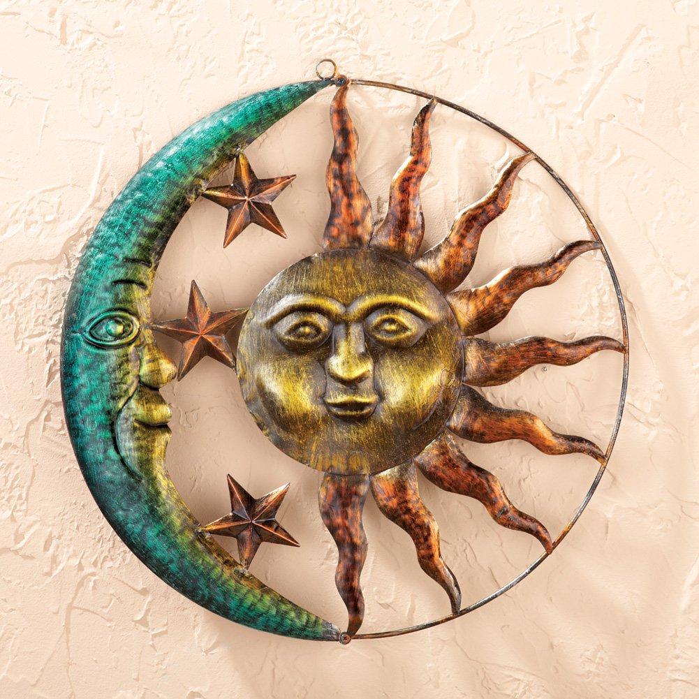 Sun Moon Celestial Wall Sculpture Outdoor Patio Porch Hanging Sign Wall Plaque Sunburst Art Plaque