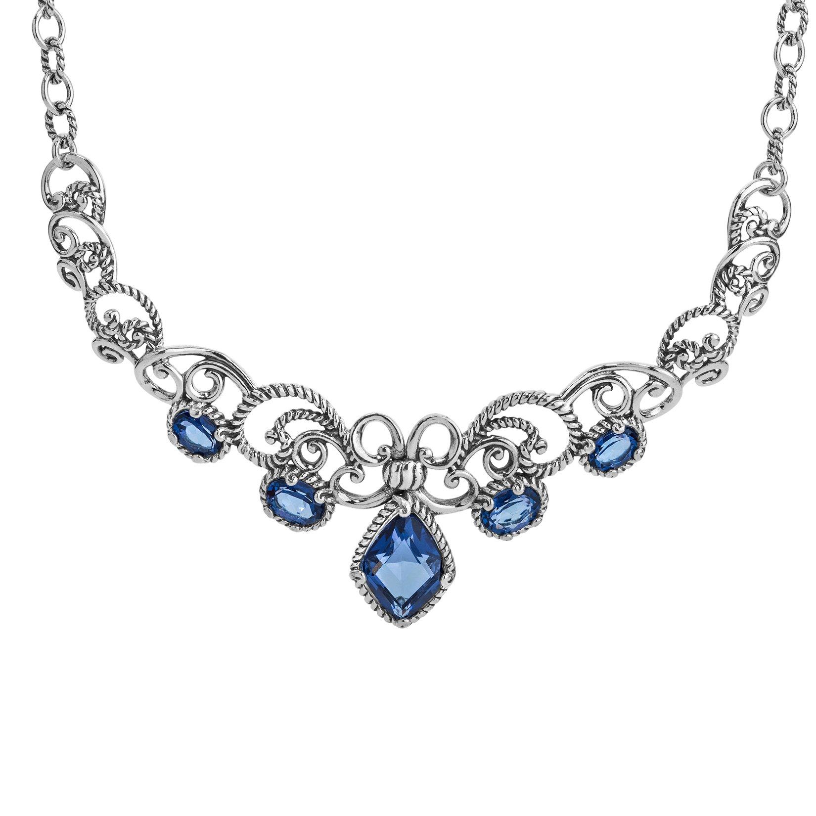 Carolyn Pollack Faceted Blue Quartz Statement Necklace