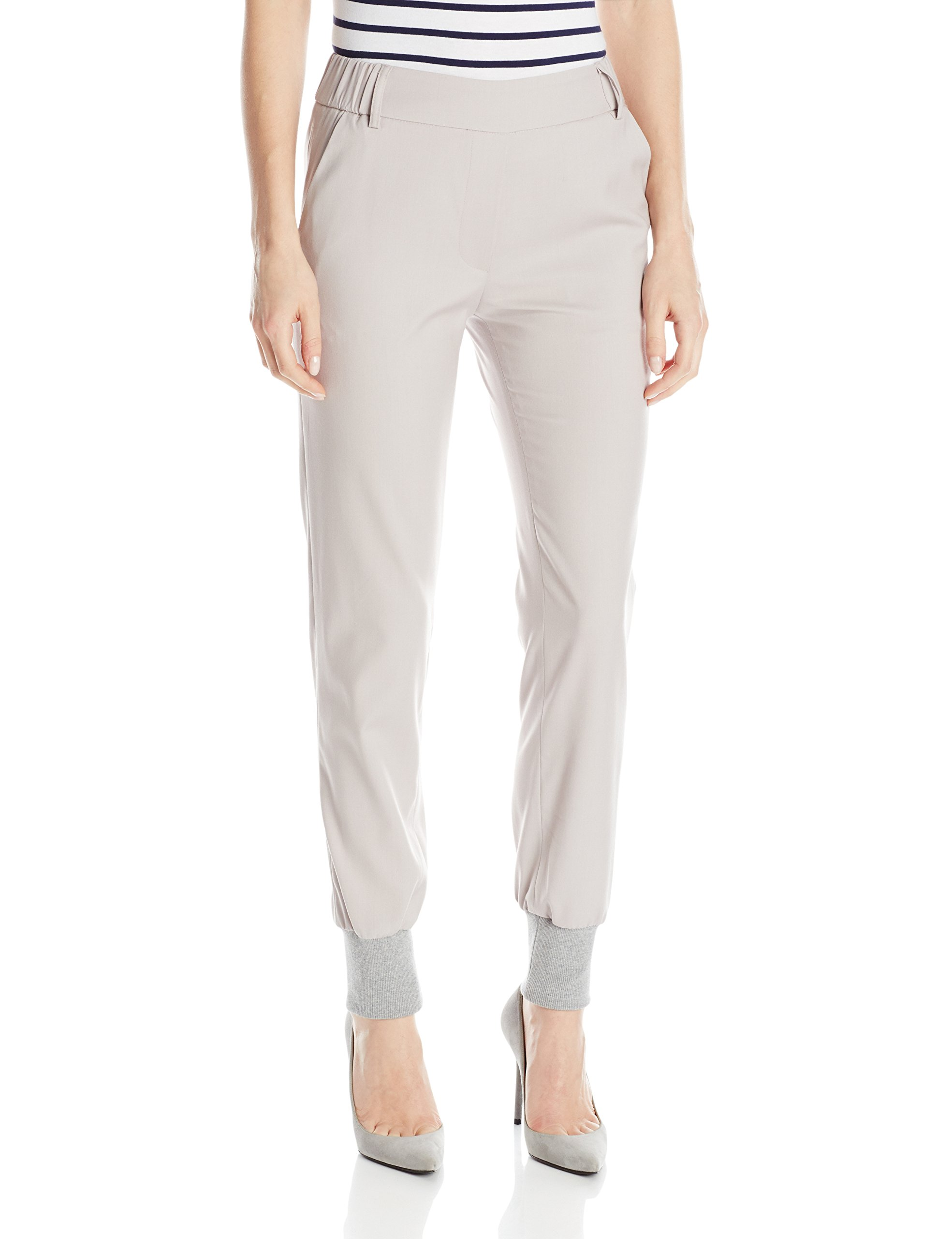James Jeans Women's Track Elastic Waist Pull On Pant, Silky Warm Grey, 26