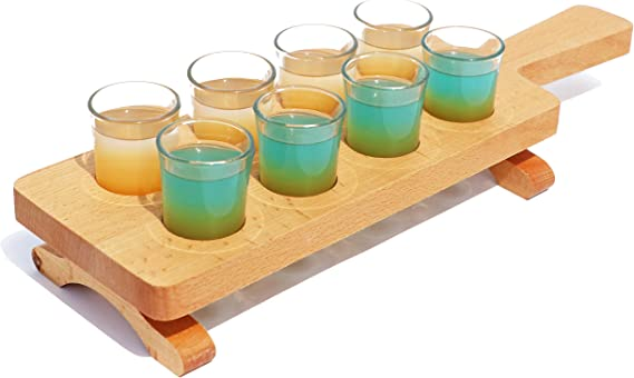 Tequila Flight Paddle with glasses Set of 8