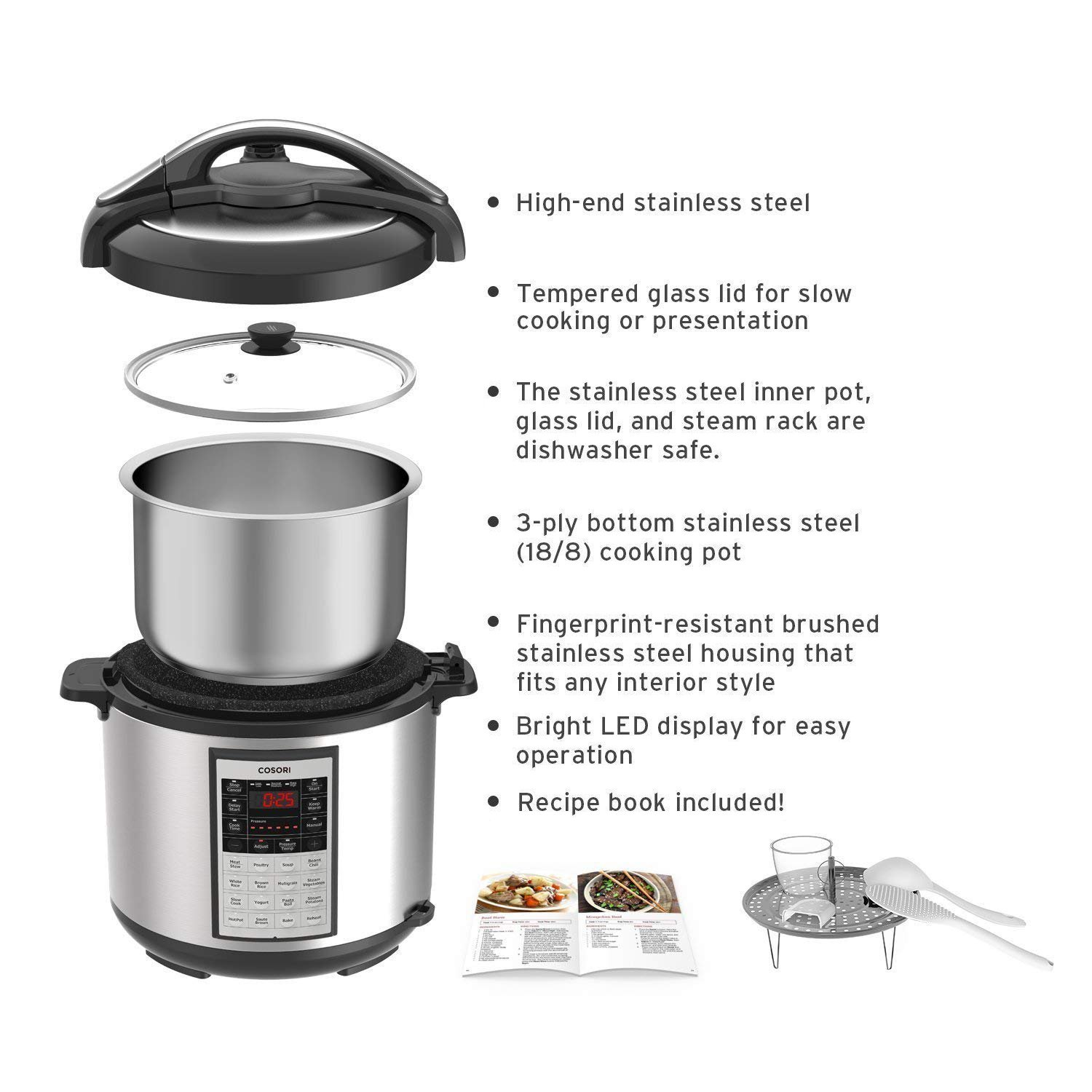 COSORI 8 Quart 8-in-1 Multi-Functional Programmable Pressure Cooker, Slow Cooker, Rice Cooker, Steamer, Sauté, Yogurt Maker, Hot Pot and Warmer, Full Accessories Included, Stainless Steel by COSORI (Image #7)