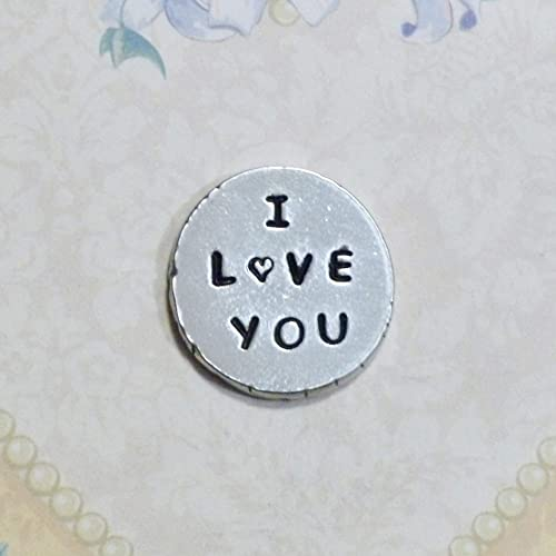 Amazon com: I Love You Personalized Hand Stamped Pewter Pocket Token