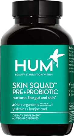 HUM Skin Squad Prebiotic + Probiotic Supplement - Clear Skin Support - Nurture Your Skin & Your Gut - Bacillus, Lactobacillus & Bifidobacterium Blend for Breakouts & Problem Skin (60 Vegan Capsules)