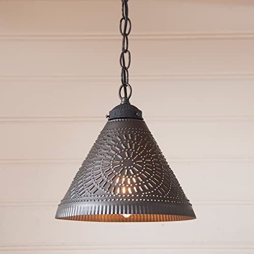Wellington Shade Light Pendant in Kettle Black Punched Tin