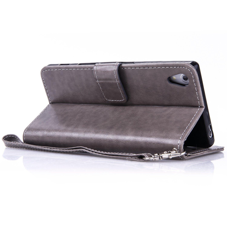 H/ülle 5,2 Zoll 5,2 Zoll Wallet Tasche Handyh/ülle Schutzh/ülle f/ür Sony Xperia Z5 Butterfly gepr/ägte Serie Bronzing Grau Anlike Sony Xperia Z5