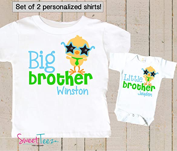c94ec201 Amazon.com: Personalized Big Brother Little Brother Shirts Matching Easter  Shirts For Big Brother Little Brother Easter Outfits: Handmade