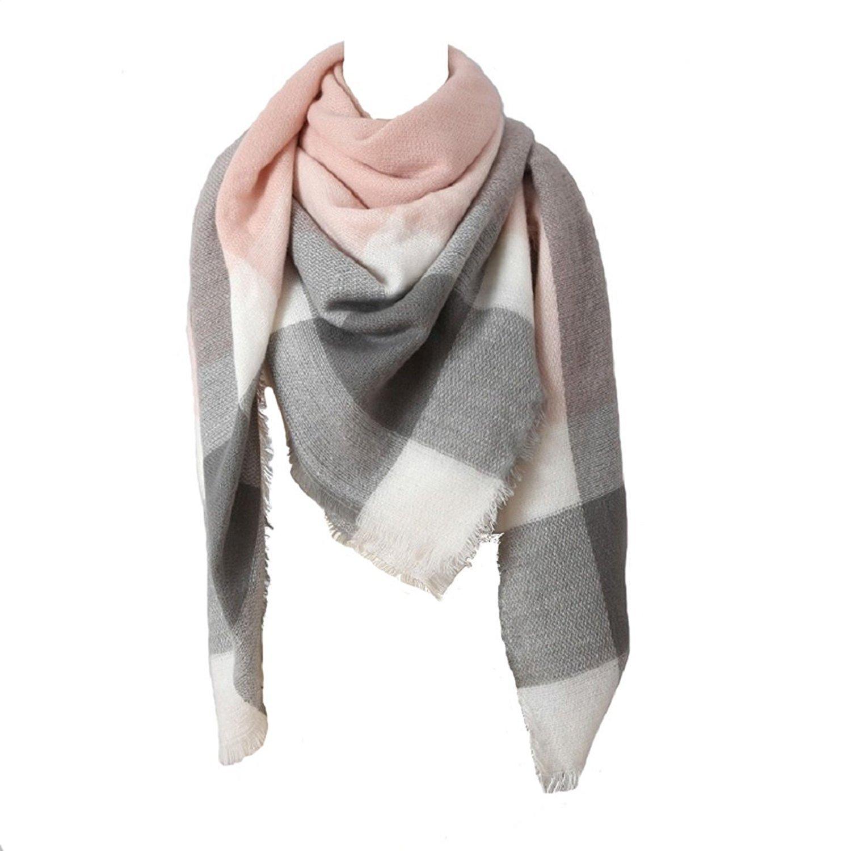 Women Big Square Long Scarves Plaid Blanket oversized Scarf Warm Tartan Checked large Shawl wrap pink