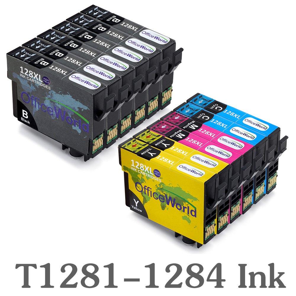OfficeWorld Reemplazo para Epson T1281-T1284 (T1285) Cartuchos de Tinta Compatible para Epson S22 SX125 SX130 SX230 SX235W SX420W SX425W SX430W SX440W ...