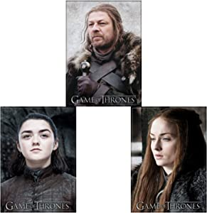 Game of Thrones Licensed Refrigerator Locker Three Magnet Bundle, The Starks: Eddard Ned Stark, Sansa Stark, Arya Stark