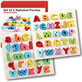 Wooden Alphabet Puzzles with Chunky Letters, Set of 2 Uppercase and Lowercase ABC Jigsaws. For Early Educational Learning, Montessori Teaching for Kindergarten and Toddlers, by Intellitoyz