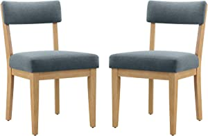 Amazon Brand – Stone & Beam Bergen Upholstered Dining Chair with Wood Legs, Set of 2, 20