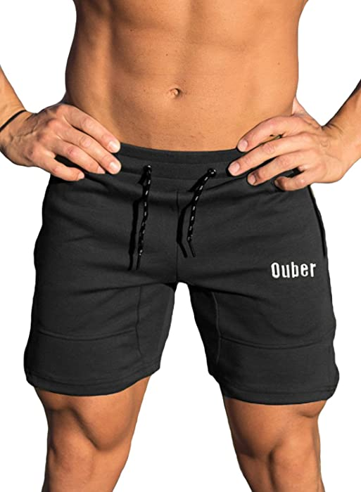 197b905e7a1 Ouber Men s Running Shorts Athletic Gym Jogging Workout Powerlifting with  Front Pockets (Black