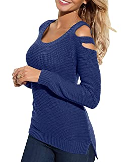 a5e8a14ff1dfb3 Bigyonger Womens Cold Shoulder Knitted Sweaters Fall Long Sleeve Scoop Neck  Pullover Jumpers