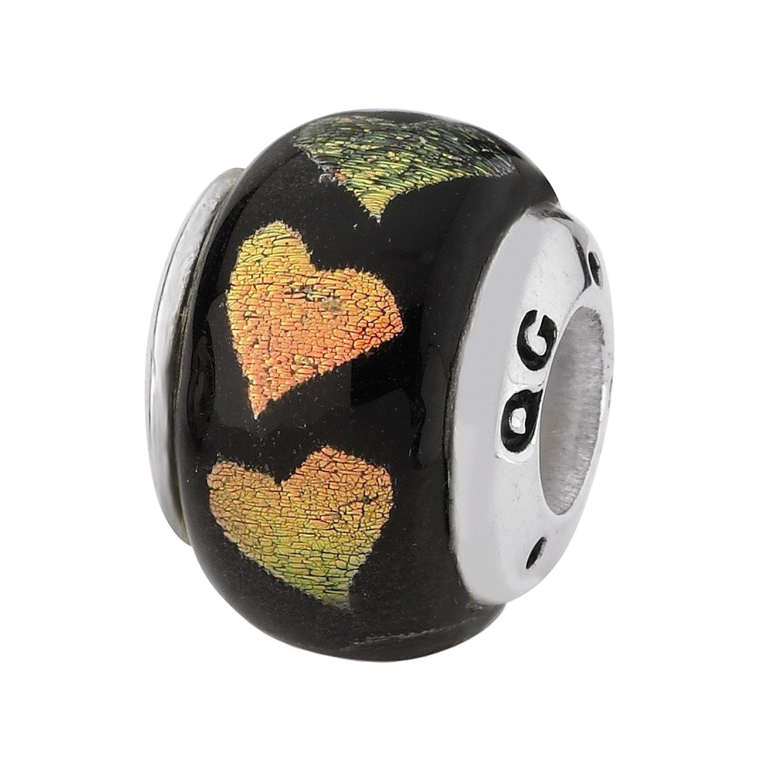 Sterling Silver Reflections Orange/Green Hearts Dichroic Glass Bead